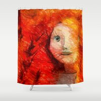 redhead Shower Curtains featuring brave RedHead  by Julia Kovtunyak