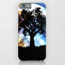 Glowing planet over starry sky and big tree iPhone Case