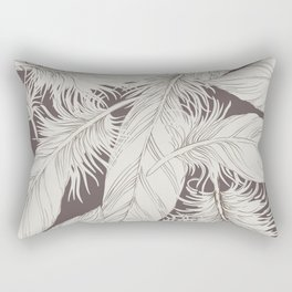 Feathers on brown background Rectangular Pillow