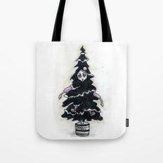 Black Xmas Tree Tote Bag