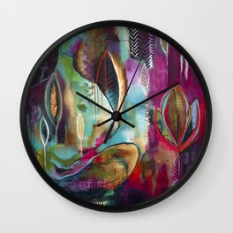 """Held and Healed"" Original Painting by Flora Bowley Wall Clock"