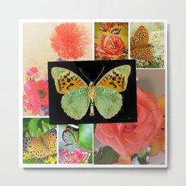Floral ,butterfly Art Metal Print