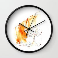 "thrones Wall Clocks featuring ""Rabbit of Thrones"" / ""THE WHITE WALKERS"" by CALZADA by Katrin Kadelke"