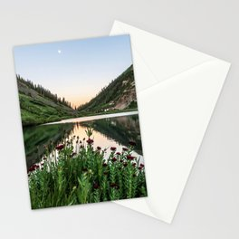 Natures Bouquet // Green and Red Floral Foreground Mountain and Moon Reflection Stationery Cards