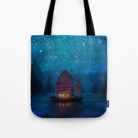 blue Tote Bags featuring Our Secret Harbor by Aimee Stewart