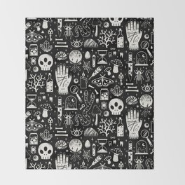 Curiosities: Bone Black Throw Blanket