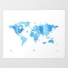 Blue sky color World map adventure Art Print