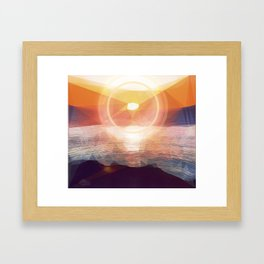 Winged Mediterranean Sunrise with circles and triangles Framed Art Print