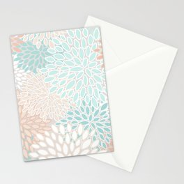 Floral Prints, Soft, Peach and Teal, Modern Print Art Stationery Cards