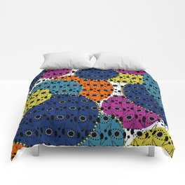 Ethnic style pattern wax, geometric abstract shapes colorful, large round purple, khaki, blue,orange Comforters