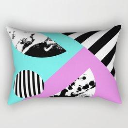 Stripes And Splats 2 - Random, Crazy, Abstract, Geometric, Black And White, Cyan, Pink Artwork Rectangular Pillow