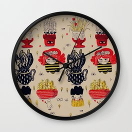 red, yellow and black pattern Wall Clock