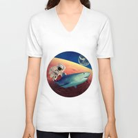 shark V-neck T-shirts featuring Shark by Cs025