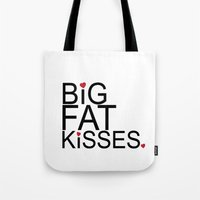 psych Tote Bags featuring big fat kisses, shawn and julia, psych by studiomarshallarts