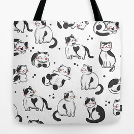 Black and White Cats Pattern Tote Bag