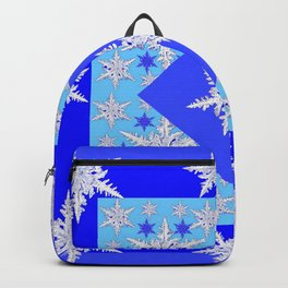 DECORATIVE BABY BLUE SNOW CRYSTALS BLUE WINTER ART Backpack