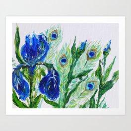 Blue iris and peacock Art Print