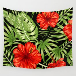 Island Red Hibiscus Floral With Palm Leaves Pattern Wall Tapestry