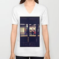 subway V-neck T-shirts featuring Subway by Alissa Fleck