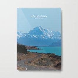 Aoraki/Mount Cook New Zealand Travel Artwork Metal Print