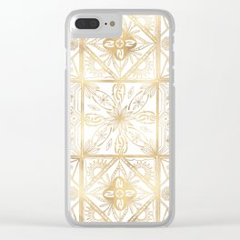 Trendy Vintage Gold Geometric Ornament Tile Art Clear iPhone Case