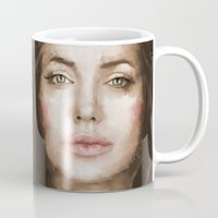 angelina jolie Mugs featuring Jolie by Dnzsea