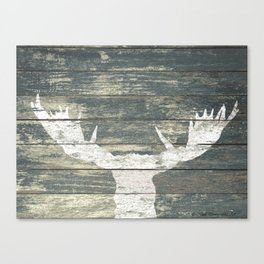 Rustic White Moose Silhouette A424a Canvas Print