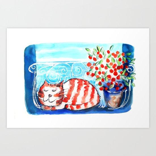 Kitty Siesta Art Print