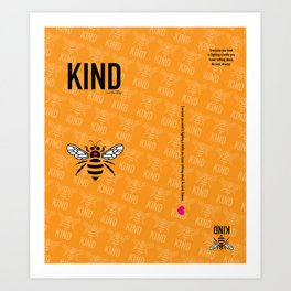 Be Kind - orange Art Print