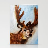 reindeer Stationery Cards featuring Reindeer  by Woolpecula