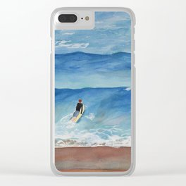 Going Surfing Watercolor Illustration Clear iPhone Case