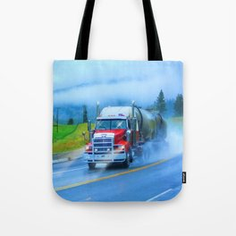 Driving Rain IV - Highway Truck in Rainstorm Artwork Tote Bag