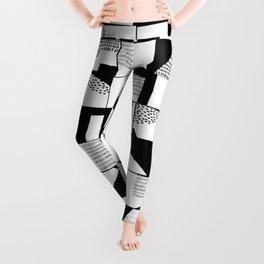 Black and White Typographical Fragmentation Cheater Quilt Leggings