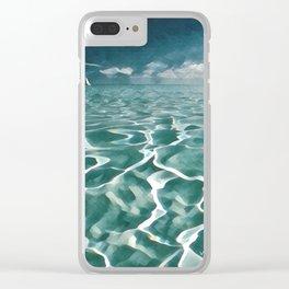 Sailing Ocean Blues Clear iPhone Case