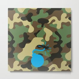 CAMO & LIGHT BLUE BOMB DIGGITY Metal Print