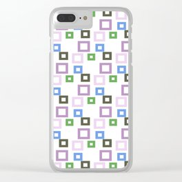 Geometrical lilac lavender blue forest green squares pattern Clear iPhone Case