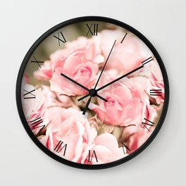Vintage rose bouquet sepia toned flowers Wall Clock