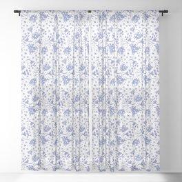 Indigo Floral Toss Sheer Curtain