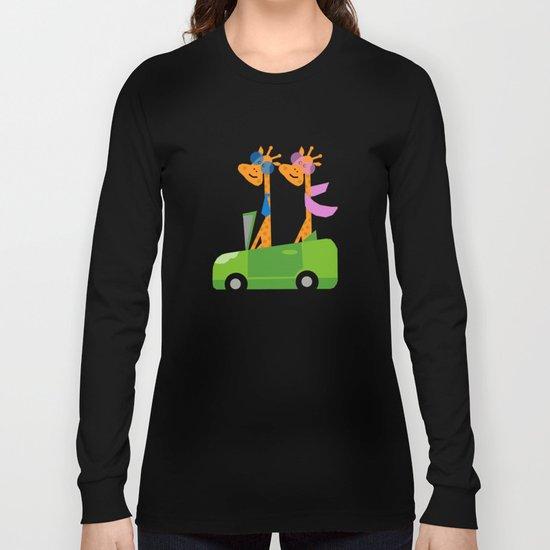 Giraffes and Car Green Long Sleeve T-shirt