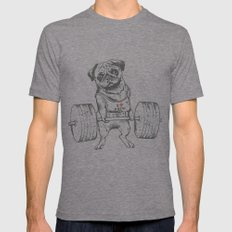 Pug Lift LARGE Tri-Grey Mens Fitted Tee