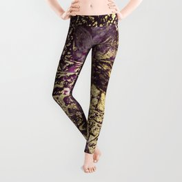 Purple leaves in melted gold Leggings