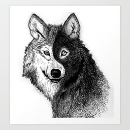Ying Yang Wolf Art Print