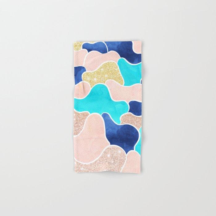 Color block faux gold turquoise pink watercolor Hand & Bath Towel