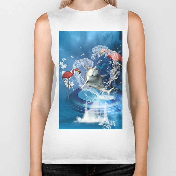 Dolphin jumping by a heart Biker Tank