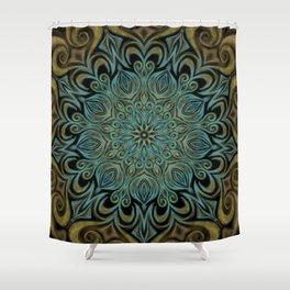 Teal and Gold Mandala Swirl Shower Curtain