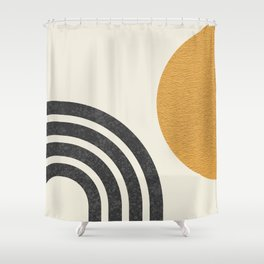 Mid century modern Sun & Rainbow Shower Curtain