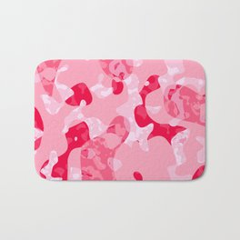 Pink red and white camo abstract Bath Mat