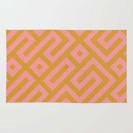 Tribal Modernist Aztec Maze Mustard Yellow and Pink Rug