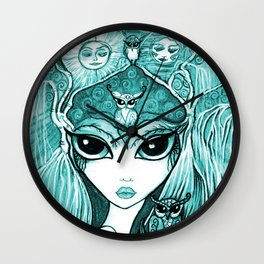 Owlette, The Owl Queen, in Aqua.  Original Illustration Artwork by Sheridon Rayment  Wall Clock
