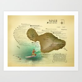 Maui [vintage inspired] Surf Break Map Art Print